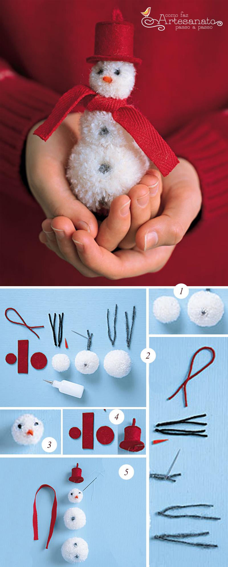 Aprenda fazer bonecos de neve com pompons