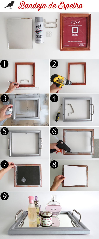 como fazer bandeja de espelho - blog como faz artesanato